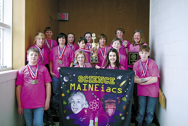 Belfast's Troy Howard Middle School Science MAINEiacs team placed first  in the State Middle School Science Olympiad Tournament held March 12 at the University of Maine.