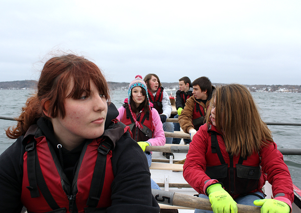 From nearest to farthest: Katie Cormier, Savannah Tinker, Taylor Karl, Nick Cormier, Roger Cunningham, Adrian Thompson. The teenagers are part of the Station Maine program at Rockland District Middle School. The students row each week as part of their school curriculum.