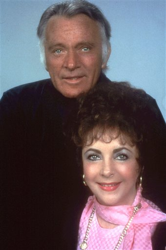 Elizabeth Taylor and  Richard Burton, one of Taylor's former husbands, pose in 1983 during a rehearsal for the Broadway revival &quotPrivate Lives.&quot