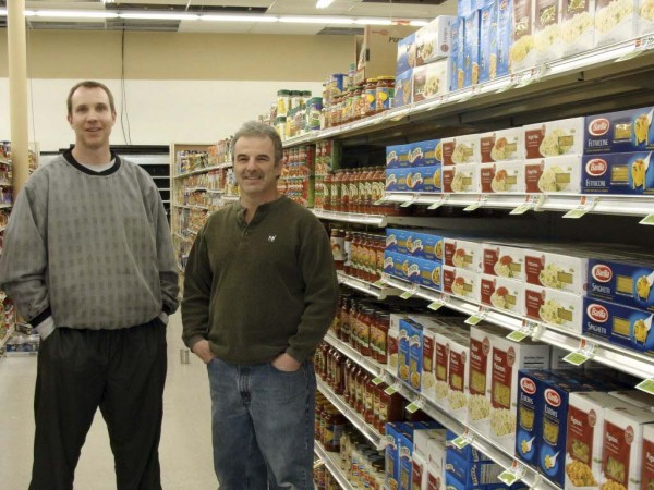 The new Tradewinds supermarket in Milo will hold a grand opening on March 27. New owners Dave Butterfield (left), who will operate the store, and Chuck Lawrence, say renovations to the building, which formerly housed the Milo Farmers Union IGA, are nearly complete.