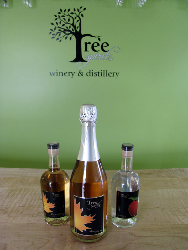 Tree Spirits Winery and Distillery in Oakland is just ramping up, but has already produced three of what will be its five core products, two sparkling wines and two varieties of liquor. All the products are made with Maine apples and maple syrup.