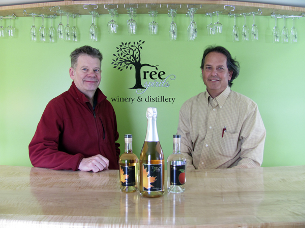 Bruce Olson (left) and Steve Buchsbaum's Tree Spirits wine and spirits products are just beginning to hit the market. Though their two varieties of liquor and two varieties of sparkling wine are made from either maple syrup or apples, they've been careful to avoid a too-sweet taste. Their first full run of Apple Extra Dry was fermenting at their Oakland facility on Friday.