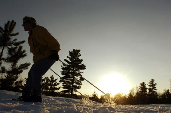 Melissa Leblanc of Glenburn enjoys some spring cross-country skiing on the Bangor City Forest trails in 2008.