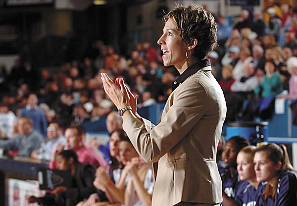 Cindy Blodgett coaches the Maine women's basketball team against Dartmouth during her first season as head coach in November of 2007. Maine won to give Blodgett her first career victory, but she went on to compile only a 24-94 record in four seasons.