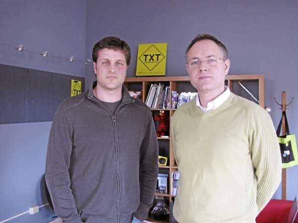 Cassidy Parmley (left) and Rob Dietz run a nonprofit agency called TxtResponsibly.org from the downtown Belfast offices of Pica Design. The nonprofit has a mission to raise awareness of the dangers of texting while driving and to prevent harmful injury or death caused by the act of texting recklessly.