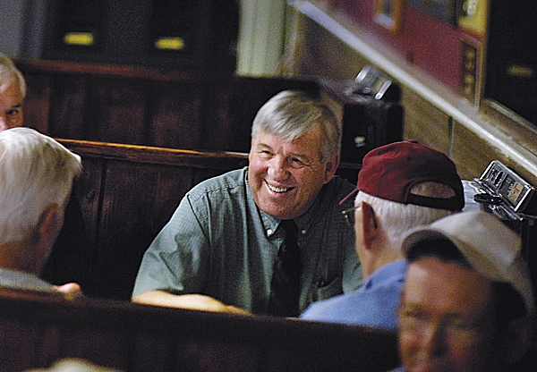 Robert Cobb shares a light moment with some other well-known Orono locals during breakfast at Pat's Pizza in June of 2007. Cobb, a retired University of Maine dean, has been selected to head the search committee to find the next women's basketball head coach.