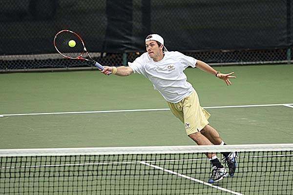 Georgia Tech's Eliot Potvin returns a shot during match earlier this season. The former Hampden Academy star is a four-year starter and one of five seniors on a nine-member Georgia Tech squad that is 18th in the NCAA Division I rankings heading into its final home regular-season meets of the spring against No. 11 Duke on Friday and No. 17 North Carolina on Saturday.