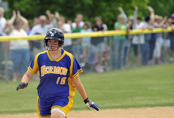 Hermon's Sami Schultz rounds third base after hitting the game-winning home run against Mattanawcook Academy in last season's Eastern Maine Class B final. Schultz is back for her senior season to help the Hawks defend their title.