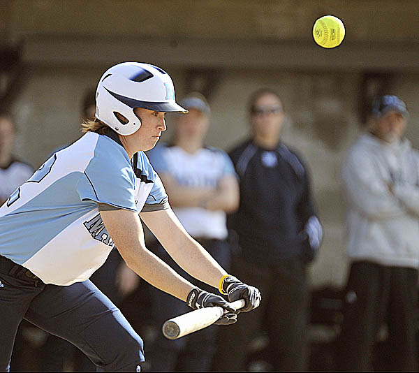 Senior Cassie Hodgson of the University of Maine pops up a bunt attempt in the second inning of Tuesday's game at Kessock Field in Orono against Husson University of Bangor. The ball landed foul. Maine earned a 10-2 win over the Eagles in a game halted in the sixth by the eight-run rule.