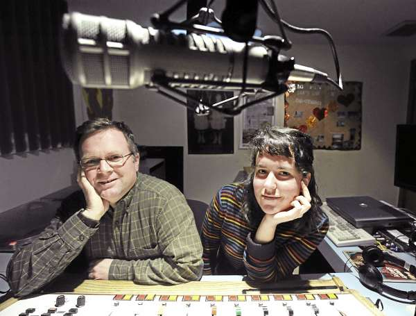 WERU radio station manager Matt Murphy (left) and Americorps Vista Bangor outreach coordinator Meaghan LaSala in a WERU studio in Orland on Wednesday,  April 13, 2011.
