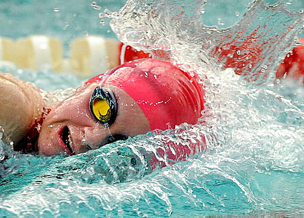 Bangor High School's Emma Waddell competes in the 200-yard freestyle during the Penobscot Valley Conference swimming and diving championships in February. Waddell recently finished 11th in the 100-yard butterfly in the YMCA national meet.
