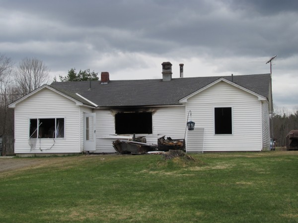 No one was home Sunday morning when fire swept through this home at 950 Main St. in Pittsfield. The owner, Mike Westgate, was in Massachusetts enjoying the Easter holiday with family members at the time of the blaze.