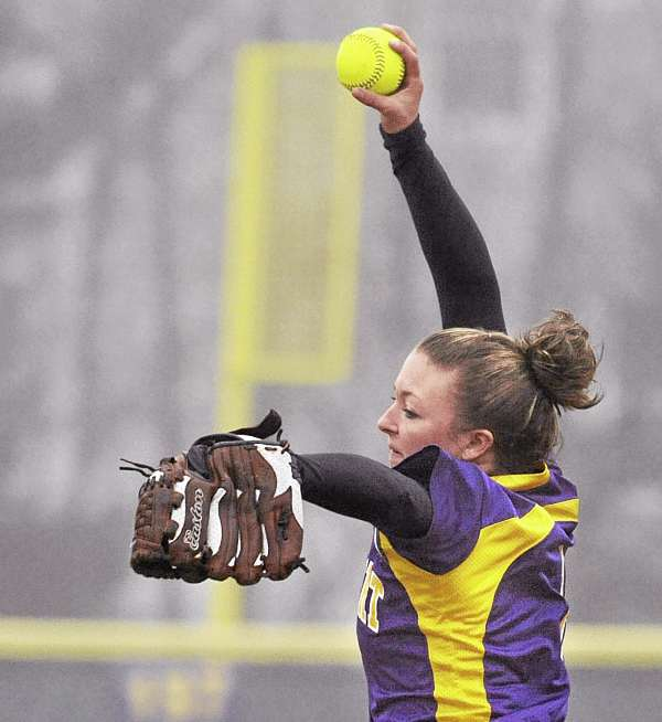 Bucksport High School's Abby Yeo delivers a pitch against Ellsworth High School in Bucksport Thursday afternoon.
