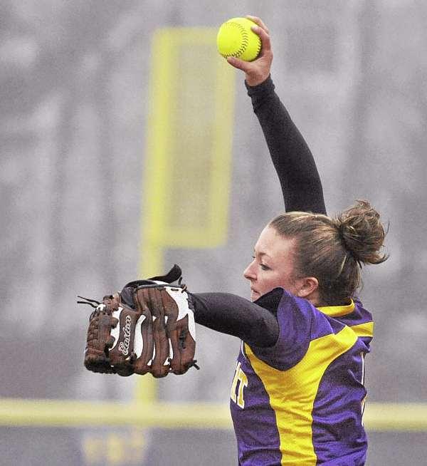 Bucksport High School's Abby Yeo delivers a pitch against Ellsworth High School in Bucksport Thursday afternoon.