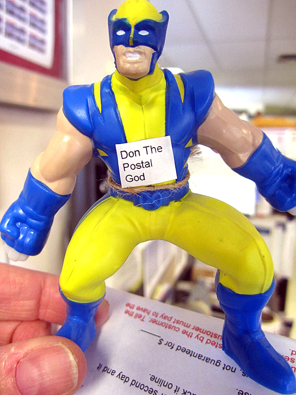 """The Postal God"" action figure, who now has his own Facebook page."