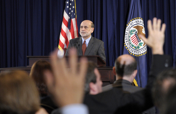 Federal Reserve Chairman Ben Bernanke speaks during a news conference at the Federal Reserve in Washington, Wednesday.