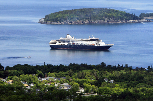 The  Maasdam, a 1258-passenger cruise ship, sits at anchor in Frenchman's Bay off Bar Harbor in June, 2010.
