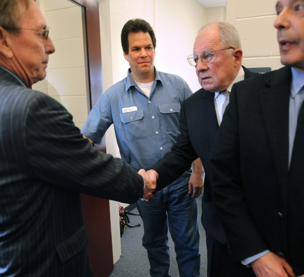 Dennis Dechaine (center left) walks out of a meeting with attorneys at the Maine State Prison in Warren in April 2009.   Dechaine met with famed deffence attorney F. Lee Bailey (center right) who agreed to be a consultant on his petition for a new trial. He was convicted for murdering twelve-year-old Sarah Cherry of Bowdoinham in 1988. Also pictured are Dechaine's Maine attorneys Steve Peterson (left) and John Nale. Bailey will speak at Husson on April 29.