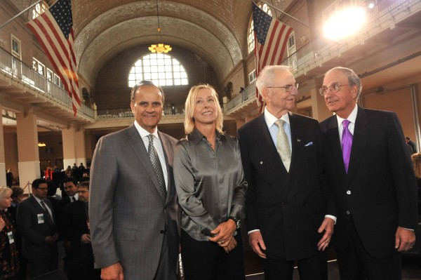 In this photo provided by The Statue of Liberty-Ellis Island Foundation, Joe Torre (from left), Martina Navratilova, Lee Iacocca and Sen. George J. Mitchell, stand in the Great Hall of Ellis Island after the 10th annual Ellis Island Family Heritage Awards, Wednesday, April 13, 2011, in New York, where they were honored for their contributions to the American experience.