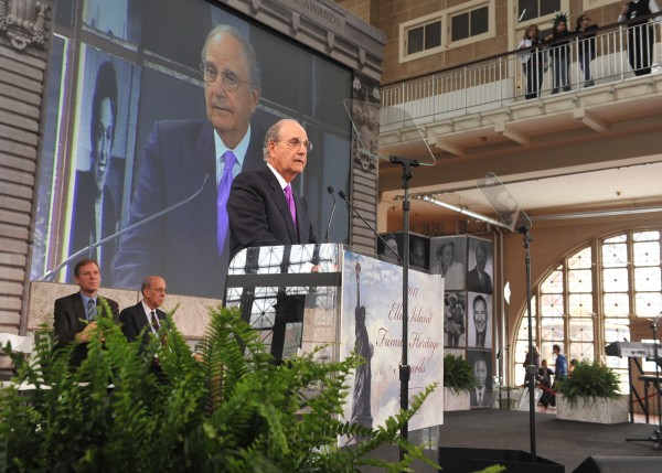 In this photo provided by The Statue of Liberty-Ellis Island Foundation, former U.S. Senator George J. Mitchell, currently President Obama's Special Envoy for Middle East Peace, is honored at the 10th annual Ellis Island Family Heritage Awards, Wednesday, April 13, 2011, at Ellis Island in New York.  Mitchell, whose mother Mintaha Saad arrived from Lebanon in 1920 through Ellis Island, along with Joe Torre, Martina Navratilova, and Lee Iacocca, were honored Wednesday for their contributions to the American experience.