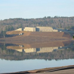 Fort Knox is reflected in the Penobscot River looking from Bucksport  in fall 2010.