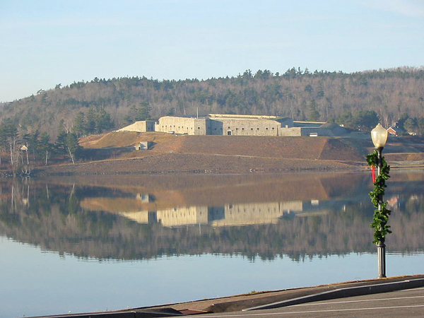 Fort Knox is reflected in the Penobscot River looking from Bucksport  in the fall of 2010.