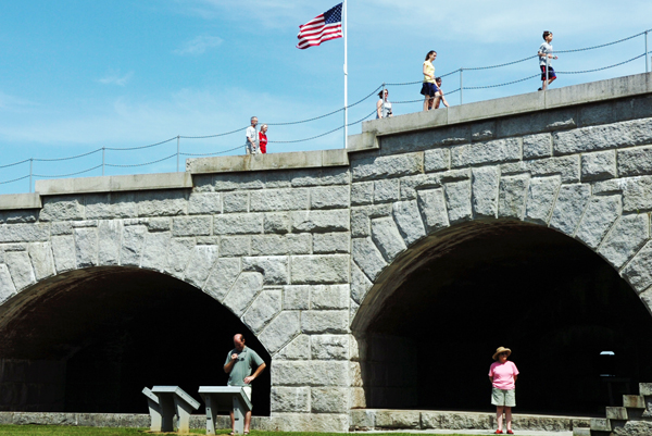 Tourists enjoy pleasant weather while visiting Fort Knox in Prospect. The fort was established in 1844 and named for America's first secretary of the war, Maj. Gen. Henry Knox. The fort is open from 9 a.m. to sunset daily.