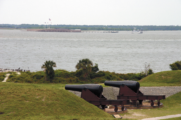 Two cannons placed in a revetment at Fort Moultrie overlook Fort Sumter, located about a mile away in Charleston Harbor, S.C. Confederate soldiers stationed at Fort Moultrie fired on Fort Sumter on April 12-13, 1861.