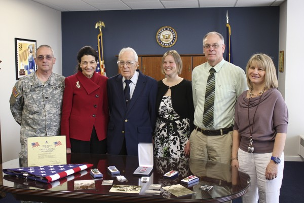 Senator Snowe (from left) with Chaplain Valmore Vigue, George Chapman, Hillari Eager, Gregory Chapman, and Laurie Chapman on Tuesday in Washington D.C.