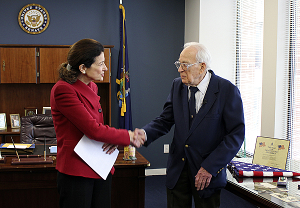 Senator Snowe honors George Chapman in Washington D.C. Tuesday.