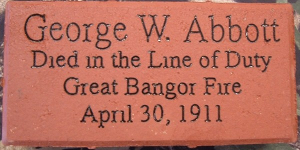 The brick that honors Brewer Firefighter George Abbott, who died during the Great Fire of 1911. The brick will be laid in a walkway at the Brewer Public Safety Building at 10 a.m. Wednesday, April 20, to honor Abbott's sacrifice.