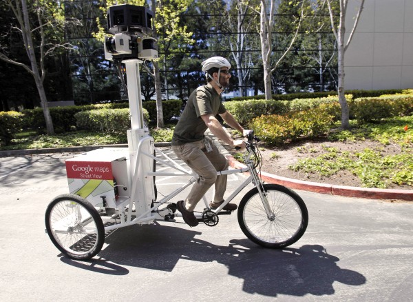 Mechanical Engineer Daniel Ratner demonstrates the StreetView Trike used as a mapping resource by the StreetView team at Google in Mountain View, Calif.  Ratner created the prototype for the bicycle in a machine shop created for employees on the company's campus. The '??Google Workshops'? are the handiwork of company co-founder Larry Page, who took over as CEO on April 4. His top priority has been making the Internet giant work with the verve and creativity of a garage-bound entrepreneur.