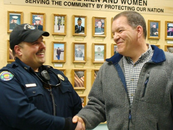 Greenville Police Chief Jeff Pomerleau (left) welcomed Matthew St. Laurent of Abbot Wednesday night as his department's second in command. Selectmen on Wednesday voted to hire St. Laurent as the department's second full-time officer. St. Laurent, who has served the town as a reserve officer, will start his new job on April 20.