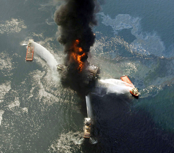 The Deepwater Horizon in the Gulf of Mexico, off the southeast tip of Louisiana.