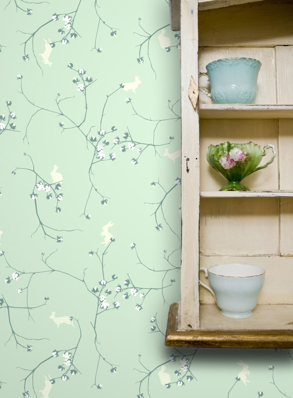 This product image courtesy of Design Public shows Cottontail wallpaper in sweet pea by Grow House Grow designer Katie Deedy. In Western culture, the bunny has found a home in the Easter basket, but it's also a token of spring's arrival, of renewal, and of nature at her most benevolent.