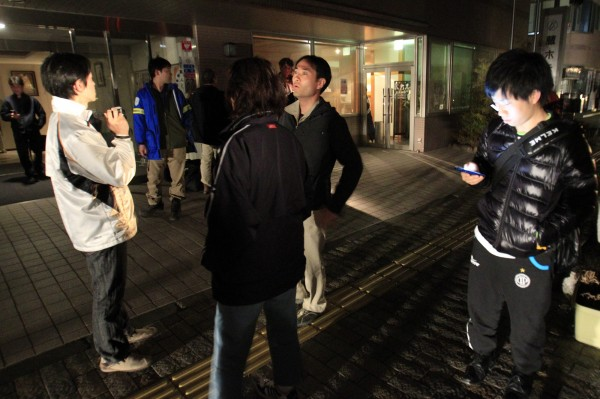 Hotel guests are seen after they evacuated the building following an aftershock, in Ichinoseki, Iwate Prefecture, Japan, Friday, April 8, 2011. Japan was rattled by a strong aftershock and tsunami warning Thursday night nearly a month after a devastating earthquake and tsunami flattened the northeastern coast.