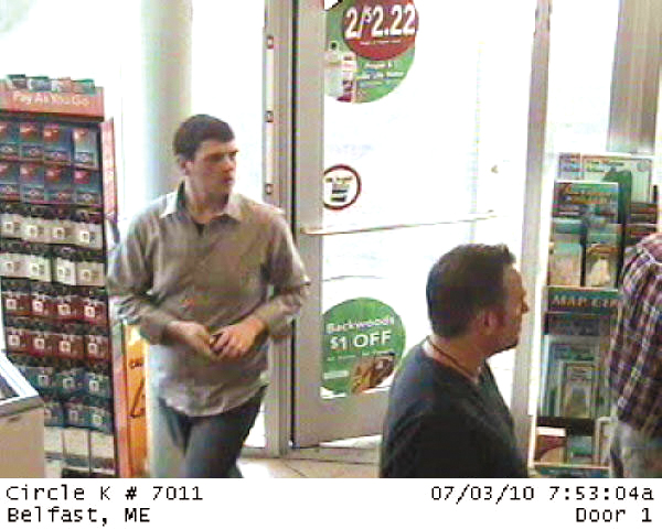 Alleged scam artist Jonathon Hinote in security camera footage that was taken last summer at a Belfast convenience store. He was arrested over the weekend in Brunswick, according to Belfast police officials.