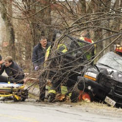 Woman, three children escape injury when car hits telephone pole in Kenduskeag