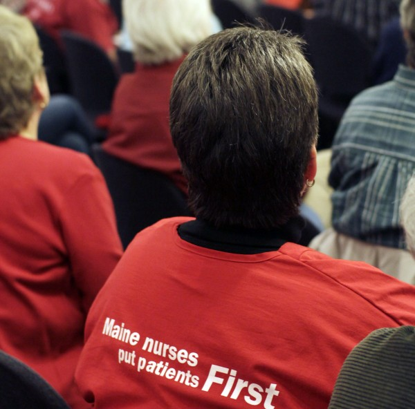 The predominant color was red in support of the EMMC nurses at the Bangor Public Library open forum Monday night.