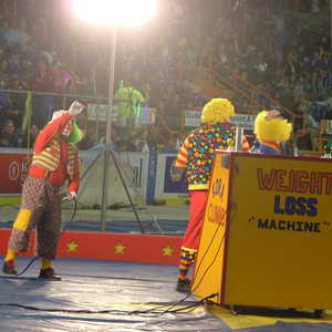 The Kora Clowns Weight Loss Machine in action at the Androscoggin Bank Colisee.