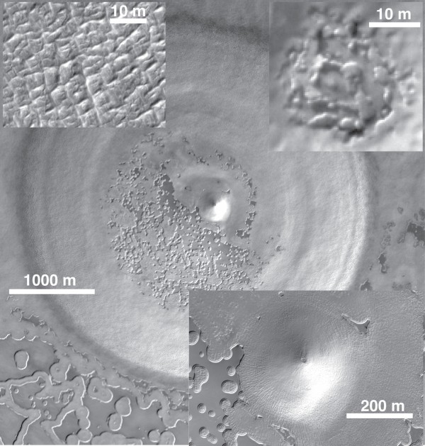 This undated image shows a recently discovered underground deposit of carbon dioxide ice in the Martian south pole.  Scientists say Mars was stormier and dustier 600,000 years ago because there was more carbon dioxide in the atmosphere. The researchers findings are based on the discovery of a huge underground reservoir of dry ice in the Martian south pole.