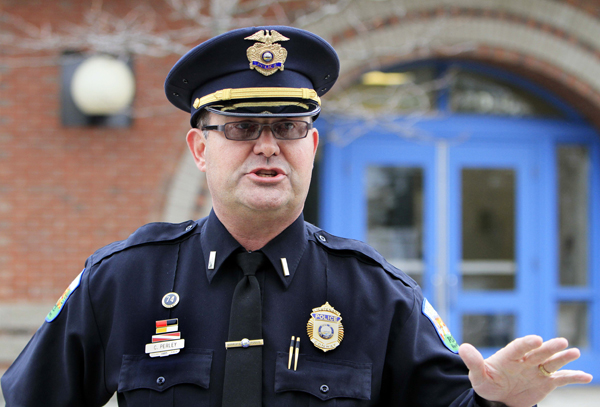 Lt. Chris Perley, of the Conway Police Department talks Tuesday, in Conway, N.H. about the investigation of Krista Dittmeyer, a missing mother who's car was found Saturday in a parking lot at the base of Mount Cranmore ski area with her baby inside the car.