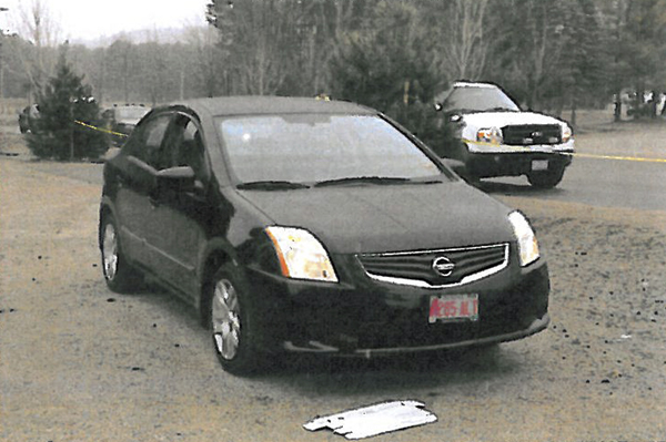 This Saturday, April 23 photo released by the Conway, N.H., Police Department, as part of a reward poster, shows the car of Krista Dittmeyer of Portland, Maine, found Saturday in Conway with its engine running and hazard lights flashing in the parking lot of the Cranmore Mountain ski area. Dittmeyer was missing but her daughter was found safe inside the car.