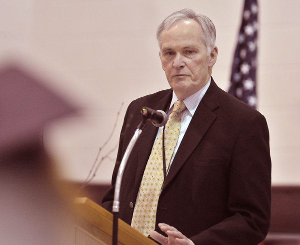 Department of Corrections commissioner Joseph Ponte speaks to graduates Friday at the Charleston Youth Development Center spring commencement held at the Charleston facility Friday April 29, 2011.