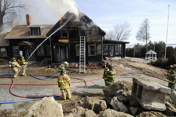 Lincolnville and Northport firefighters used the now-defunct Snow Hill Motel on Route 1 in Lincolnville for a controlled burn exercise Saturday.