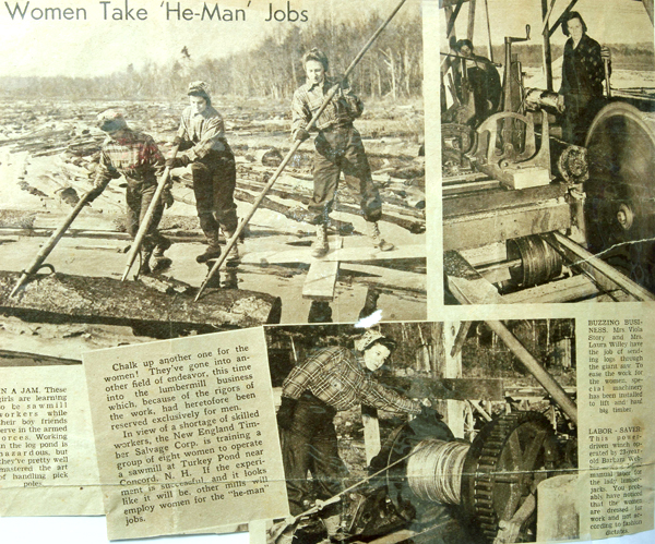 In Hopkinton, N.H., photos from a scrapbook with women from  Concord, N.H. working a lumber mill, in1942 are seen. With World War II under way and sawmill labor scarce, the U.S. Forest Service recruited a dozen women to mill the logs into lumber for the war effort. A University of New Hampshire forestry specialist has written a book about their experience called &quotThey Sawed Up a Storm.&quot