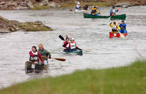 Paddlers make their way from Kenduskeag to Bangor during the 44th annual Kenduskeag Stream Canoe Race in 2010.