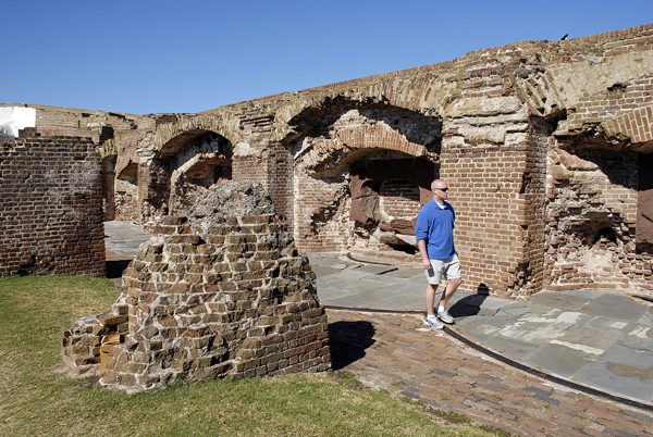 A tourist walks through the ruins of Fort Sumter in Charleston Harbor, S.C. The Civil War started with Confederate gunners bombarded the fort on April 12-13, 1861. The National Park Service now maintains Fort Sumter as a national historic site.