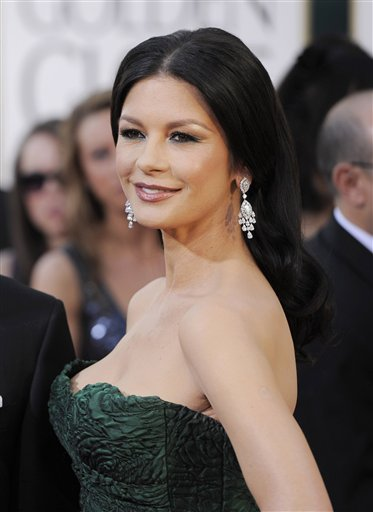 Actress Catherine Zeta-Jones arrives at the Golden Globe Awards in Beverly Hills in January, 2011.  Zeta-Jones recently disclosed she is in treatment for Bipolar II Disorder.