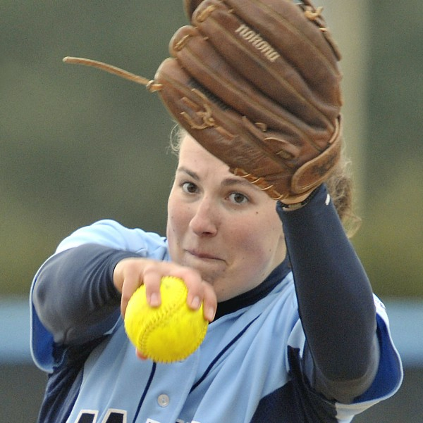 Ashley Kelley winds up to deliver a pitch during a University of Maine softball game last year.